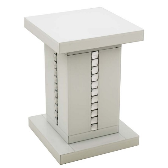 Solano White Glass Side Table With Decorative Crystals