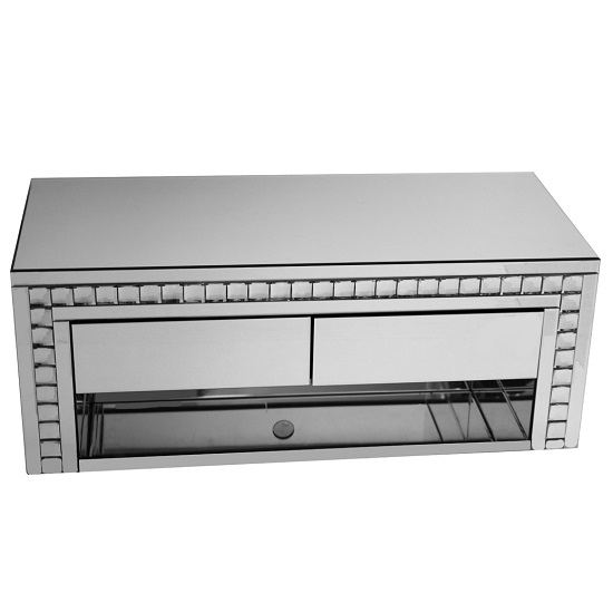 Solano Rectangular Mirrored Glass TV Stand With Drawers