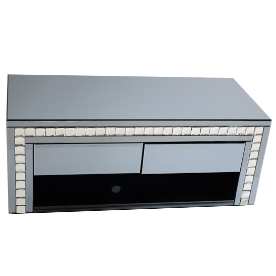 Solano Rectangular Smoke Glass TV Stand With Drawers