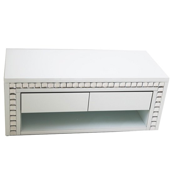 Solano Rectangular White Glass TV Stand With Drawers