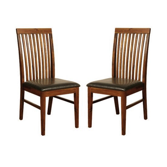 Solaris Acacia Dining Chairs In Pair