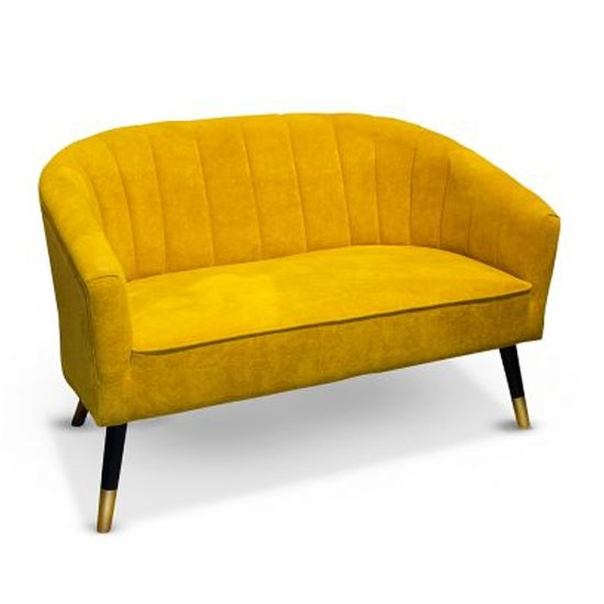 Sole Velvet 2 Seater Sofa In Yellow With Wooden Legs