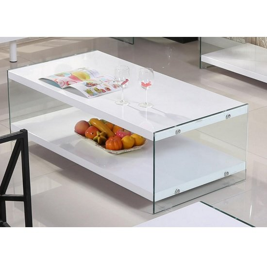 Solea Modern Coffee Table In White High Gloss With Glass Legs