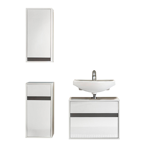Solet Bathroom Furniture Set 10 In White High Gloss