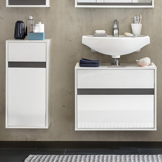 Solet Bathroom Furniture Set 12 In White High Gloss