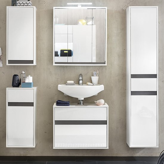 Solet Bathroom Furniture Set 16 In White High Gloss_3