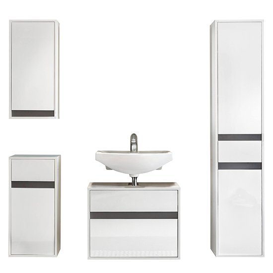 Solet Bathroom Furniture Set 16 In White High Gloss