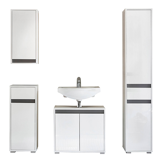 Solet Bathroom Furniture Set 8 In White High Gloss