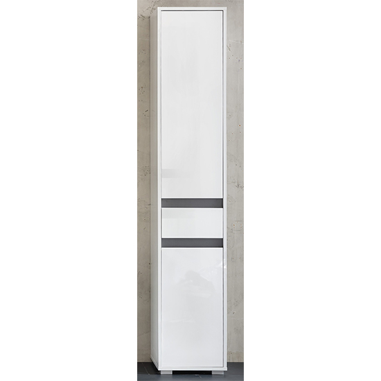 Solet Bathroom Tall Storage Cabinet In White High Gloss