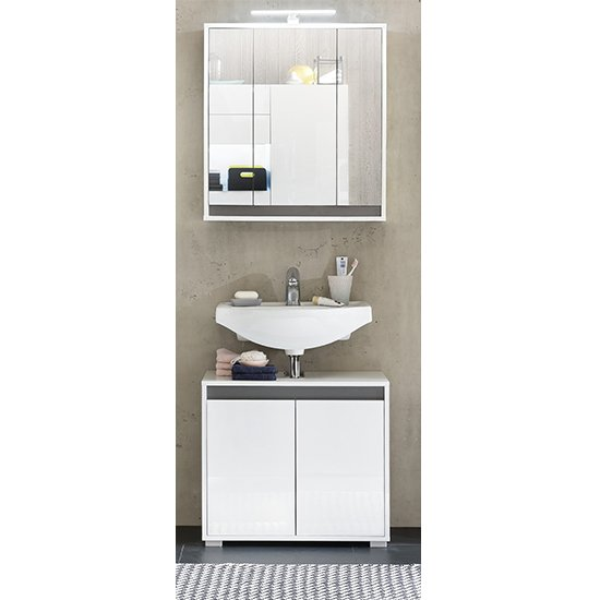 Solet LED Bathroom Furniture Set 1 In White High Gloss
