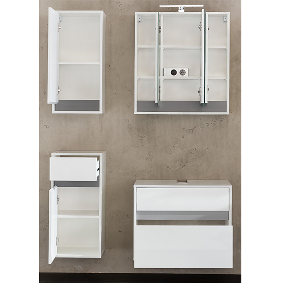 Solet LED Bathroom Furniture Set 11 In White High Gloss_2