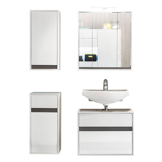 Solet LED Bathroom Furniture Set 11 In White High Gloss_3