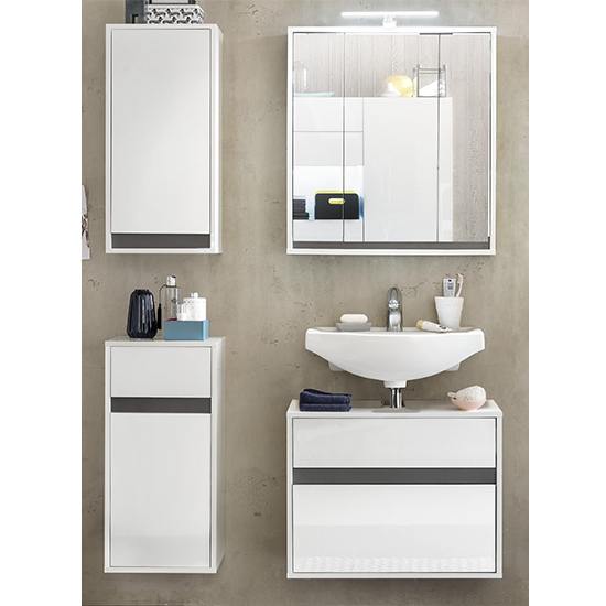 Solet LED Bathroom Furniture Set 11 In White High Gloss_1