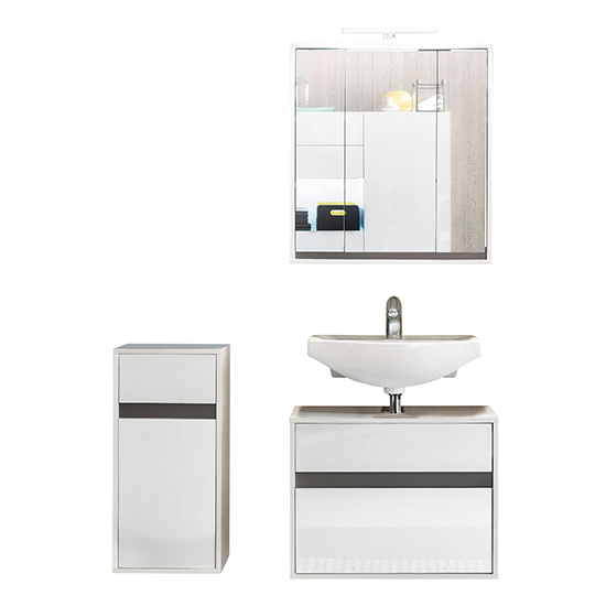 Solet LED Bathroom Furniture Set 13 In White High Gloss