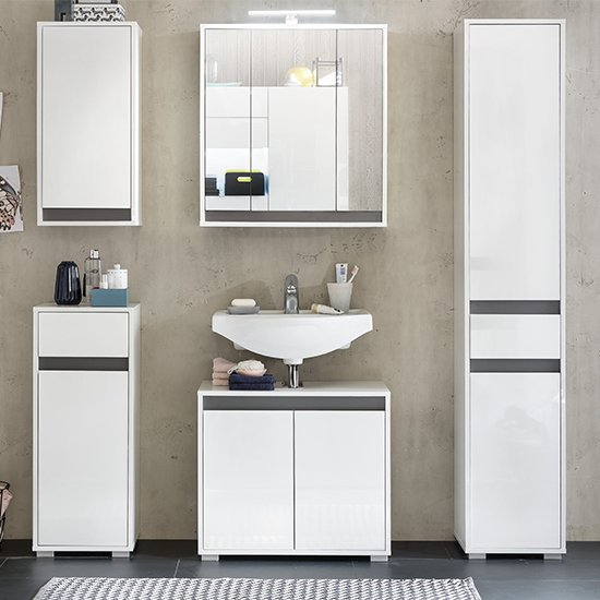 Solet LED Bathroom Furniture Set 5 In White High Gloss_3