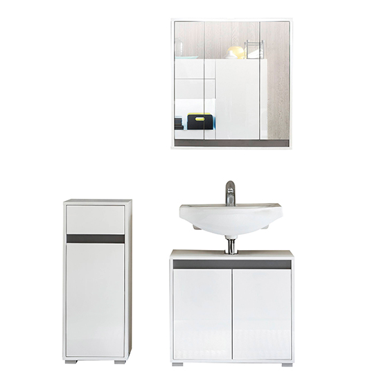 Solet LED Bathroom Furniture Set 5 In White High Gloss_1