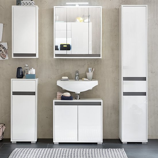 Solet LED Bathroom Furniture Set In White High Gloss
