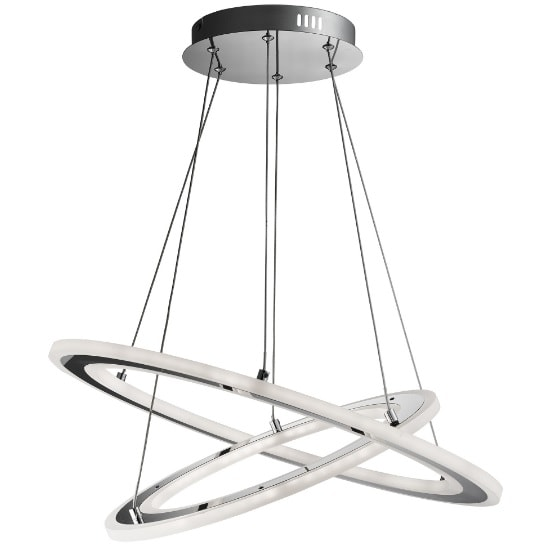 Solexa LED 2 Ring Pendant Light In Chrome And Frosted Acrylic
