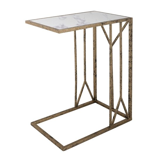 Solomon Mirrored Top End Table In Antique Brushed Gold_1