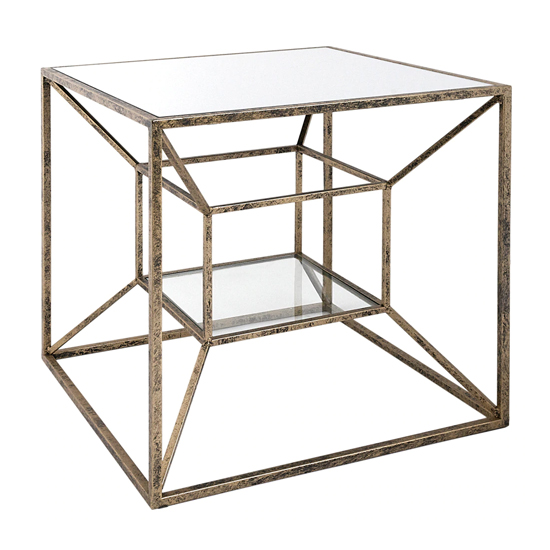 Solomon Mirrored Top Lamp Table In Antique Brushed Gold