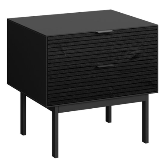 Soma Wooden Bedside Cabinet In Black With 2 Drawers