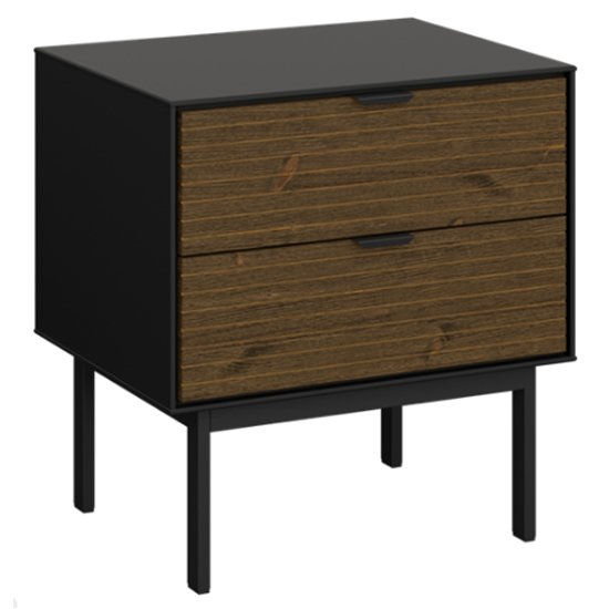 Soma Wooden Bedside Cabinet In Black And Pine With 2 Drawers