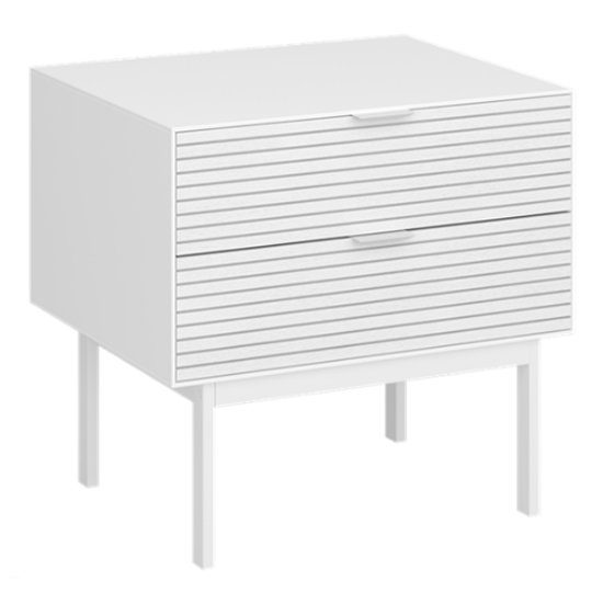 View Soma wooden bedside cabinet in white with 2 drawers