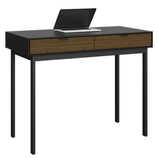 View Soma wooden laptop desk in black and pine with 2 drawers