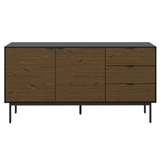 Soma Wooden Sideboard In Black And Pine With 2 Doors 3 Drawers_2