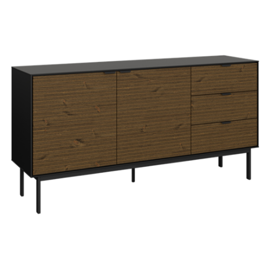 Soma Wooden Sideboard In Black And Pine With 2 Doors 3 Drawers