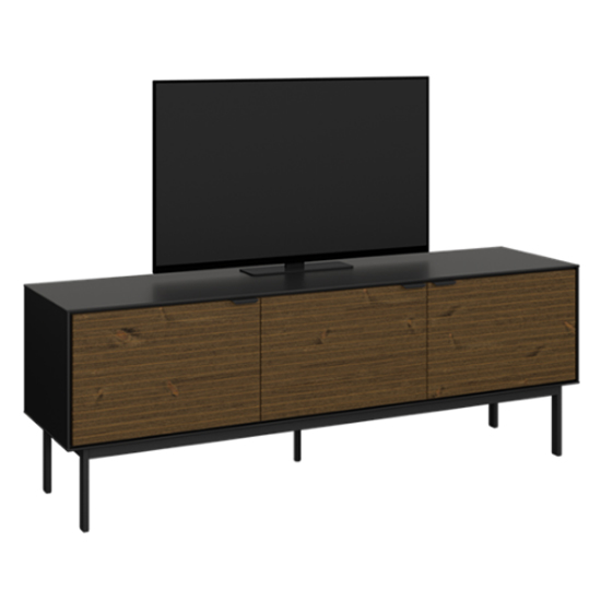 View Soma wooden tv sideboard in black and pine with 3 doors