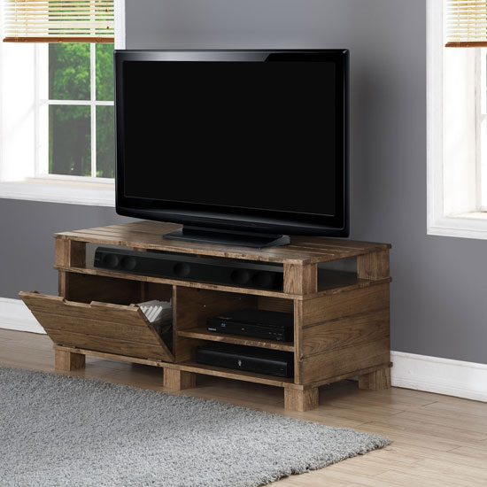 Somerset Wooden TV Stand In Rustic Oak With Flap Door