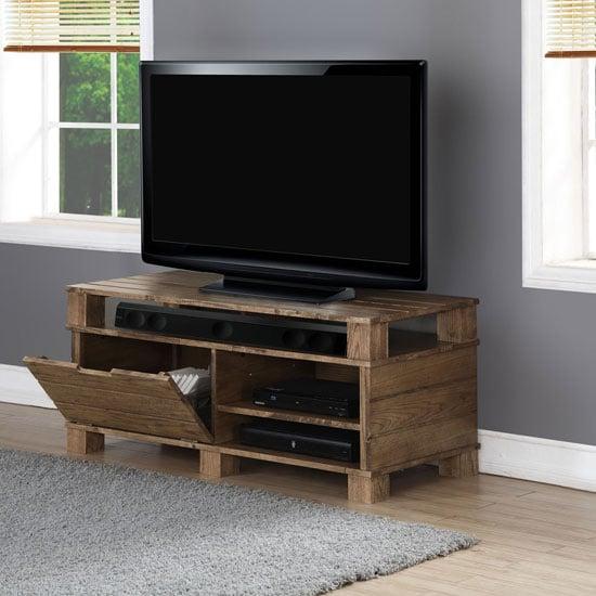 Somerset Wooden TV Stand In Rustic Oak With Flap Door
