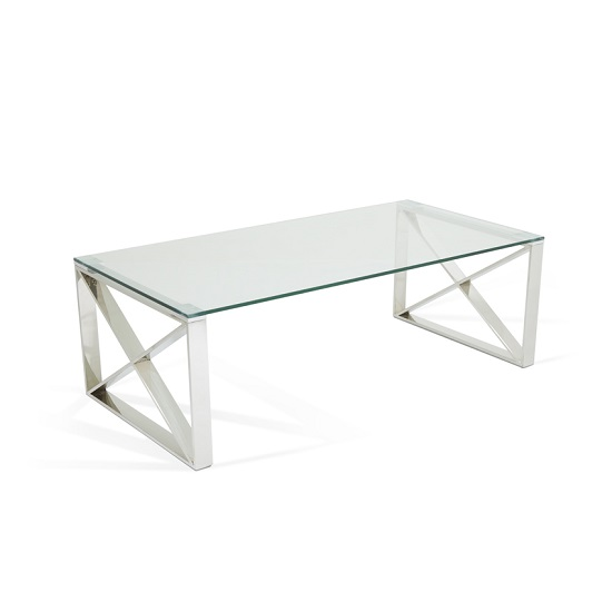 Glass Coffee Table With Stainless Steel Legs: Sonata Glass Coffee Table With Polished Stainless Steel