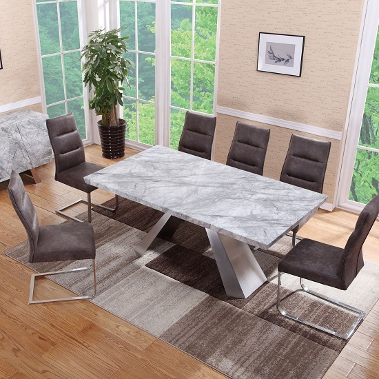 Orion Marble Rectangular Dining Table With 4 Dining Chairs