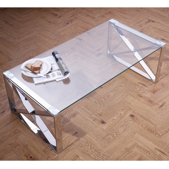 Sonata Glass Coffee Table With Polished Stainless Steel Legs_1