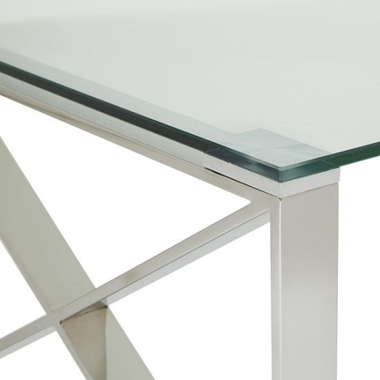 Sonata Glass Coffee Table With Polished Stainless Steel Legs_4