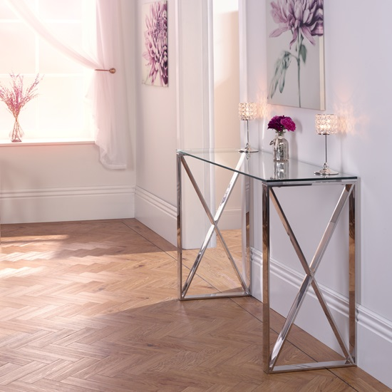 Sonata Glass Console Table With Polished Stainless Steel Legs