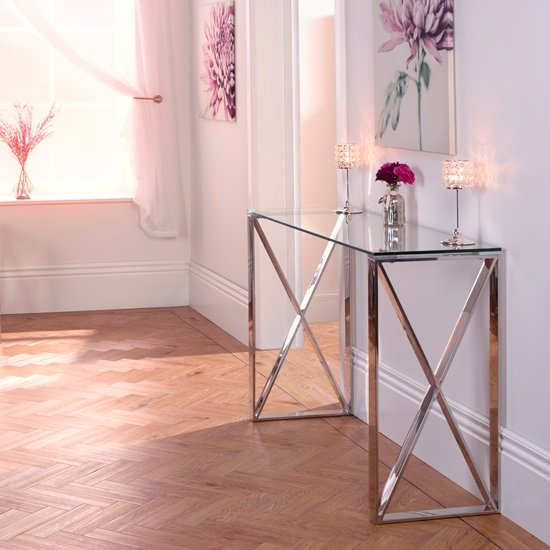 Sonata Glass Console Table With Polished Stainless Steel Legs_1