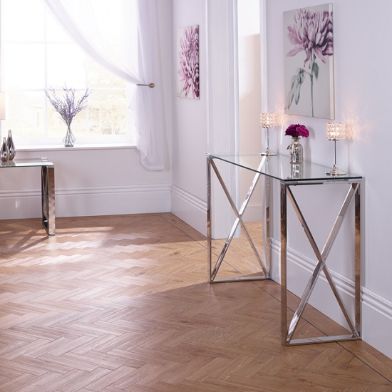 Sonata Glass Console Table With Polished Stainless Steel Legs_2