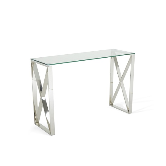 Sonata Glass Console Table With Polished Stainless Steel Legs_3
