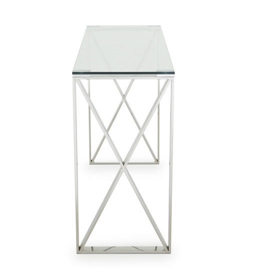 Sonata Glass Console Table With Polished Stainless Steel Legs_4