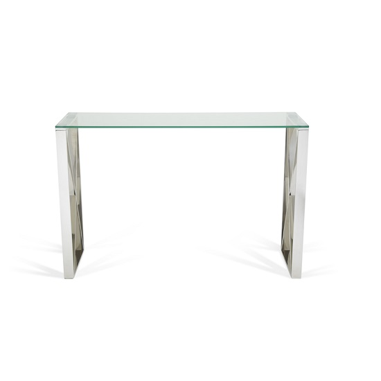 Sonata Glass Console Table With Polished Stainless Steel Legs_5