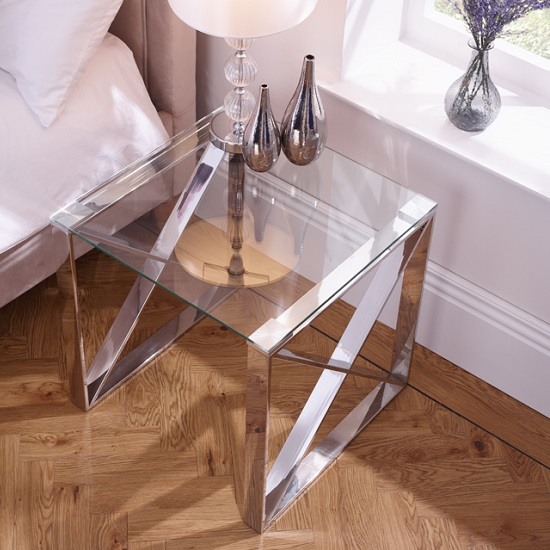Sonata Glass Lamp Table With Polished Stainless Steel Legs_1