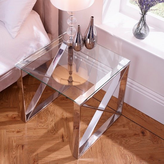 Sonata Glass Lamp Table With Polished Stainless Steel Legs