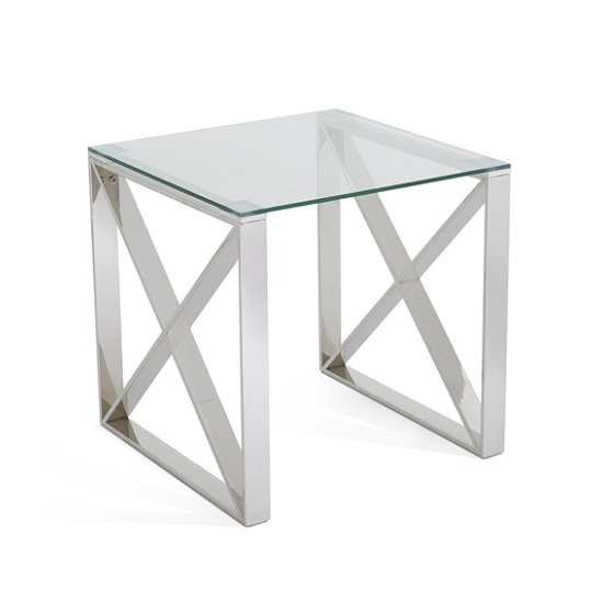 Sonata Glass Lamp Table With Polished Stainless Steel Legs_2