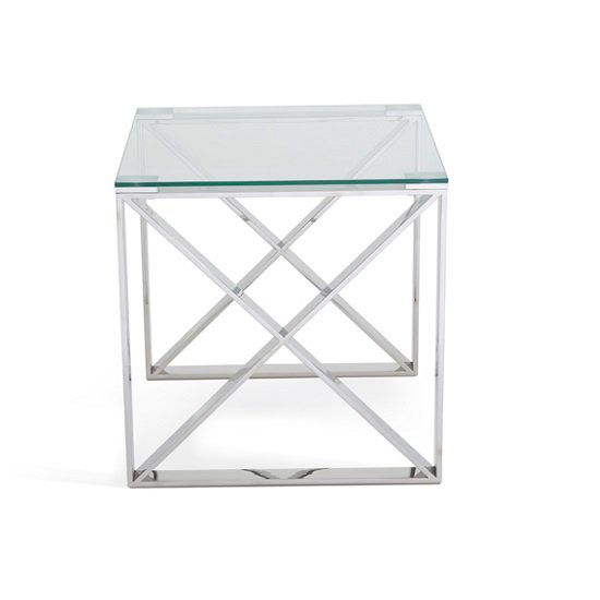 Sonata Glass Lamp Table With Polished Stainless Steel Legs_3
