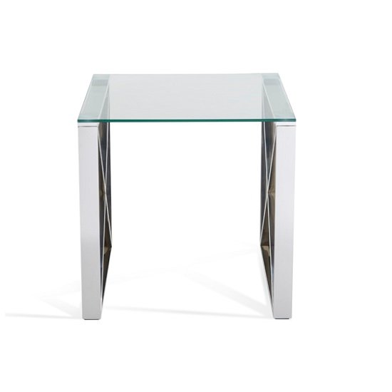 Sonata Glass Lamp Table With Polished Stainless Steel Legs_4