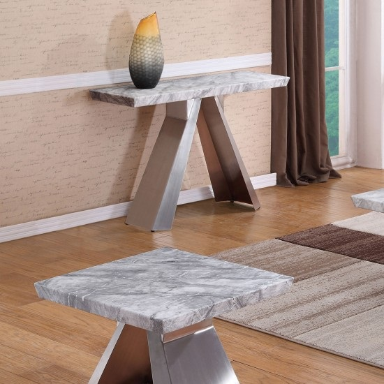 Orion Marble Console Table With Brushed Stainless Base