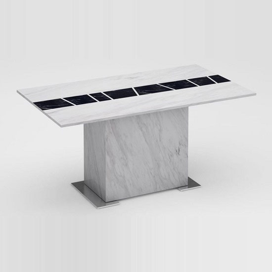 Sonati Marble Effect Console Table In White With Steel Base